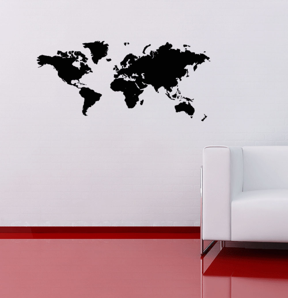 World map wall sticker 60 second makeover wall decals world map wall sticker gumiabroncs Images