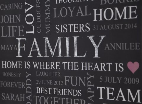 personalised words crystal diamante sparkly canvas your family 60