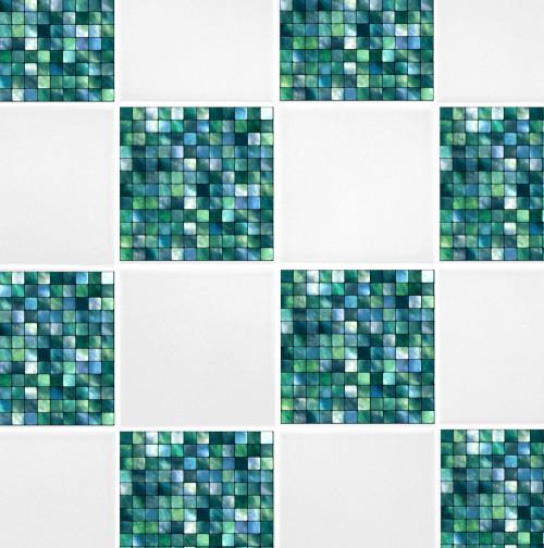 6u2033 X 6u2033 Green Blue Mosaic Tile Transfers