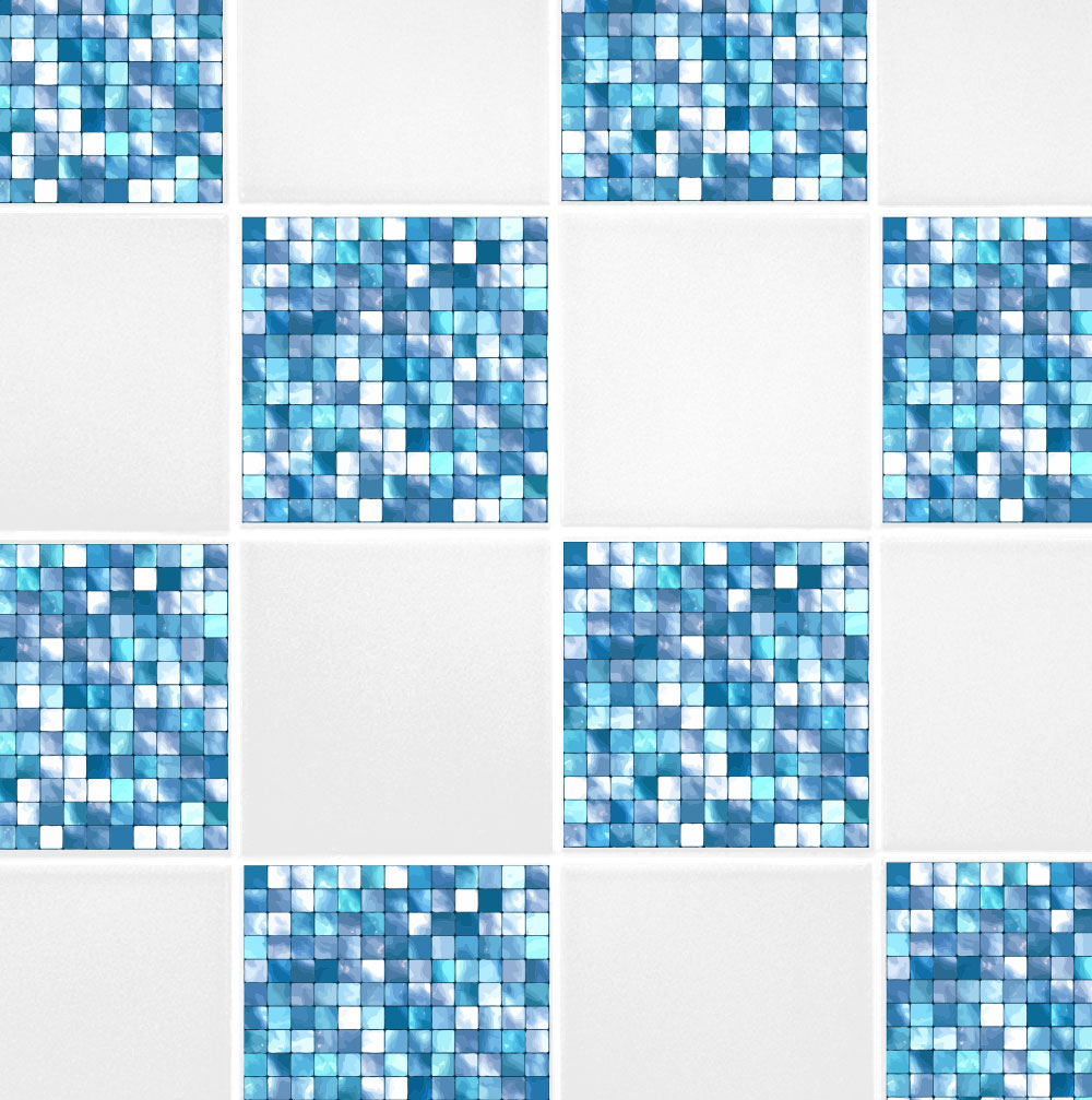 6 x 6 aqua blue mosaic tile transfers 60 second makeover wall decals