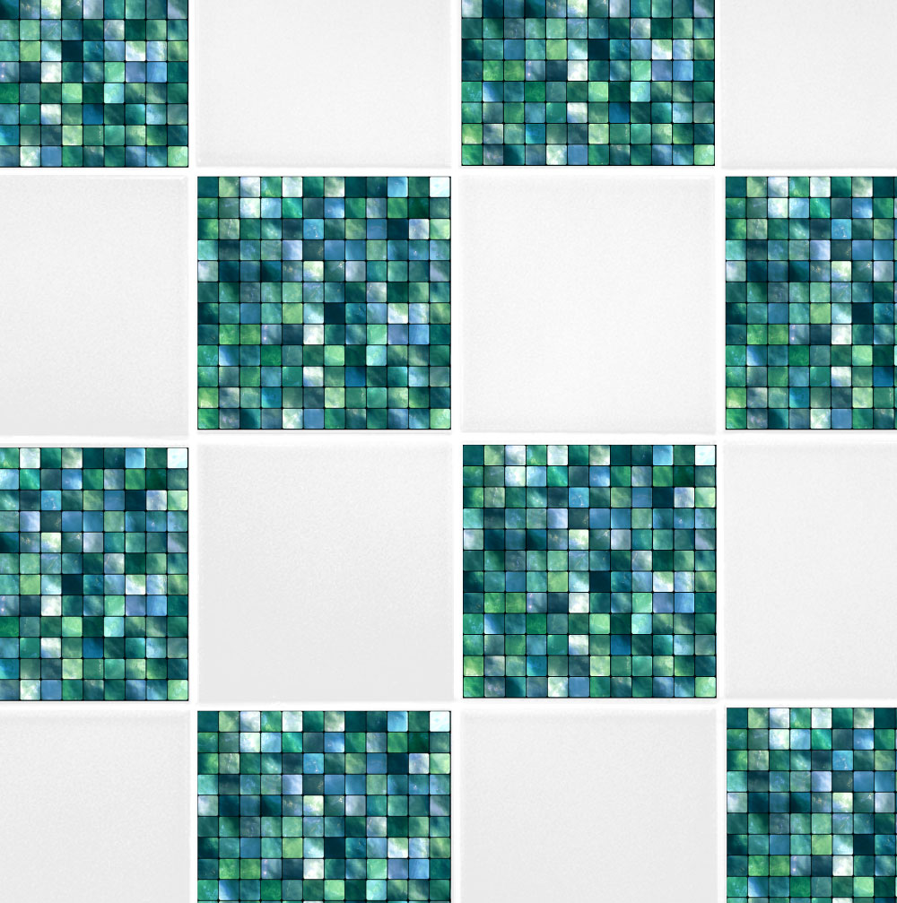 6 X 6 Green Blue Mosaic Tile Transfers 60 Second